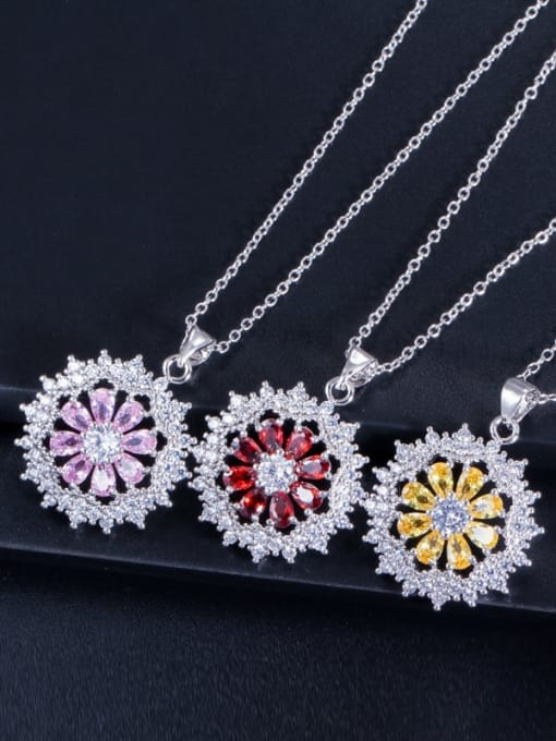 L.WIN Dainty Flower Brass Cubic Zirconia Earring Ring and Necklace Set 3