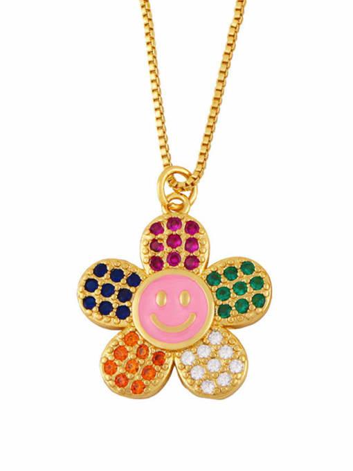 Pink Brass Cubic Zirconia Smiley Flower  Minimalist Necklace