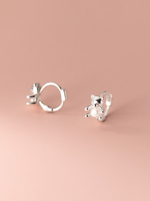 Rosh 925 Sterling Silver Bear Cute Huggie Earring 1