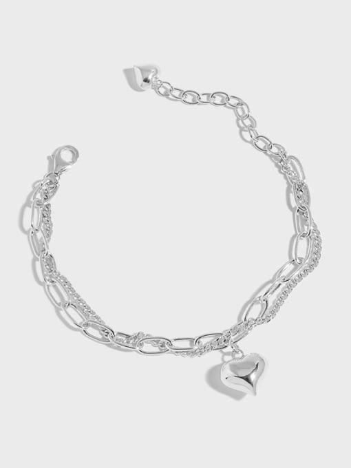 DAKA 925 Sterling Silver Heart Vintage Strand Bracelet