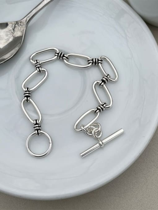 Boomer Cat 925 Sterling Silver Hollow Geometric Vintage Link Bracelet 0