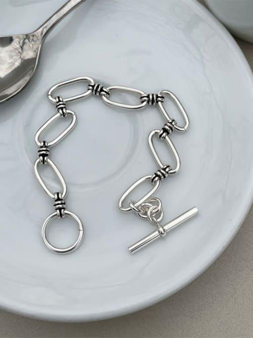 Boomer Cat 925 Sterling Silver Hollow Geometric Vintage Link Bracelet