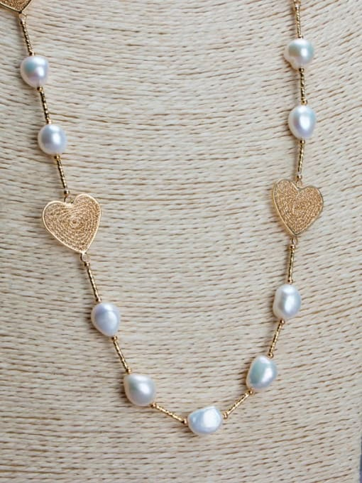 RAIN Brass Freshwater Pearl Hollow Heart Vintage Necklace 0