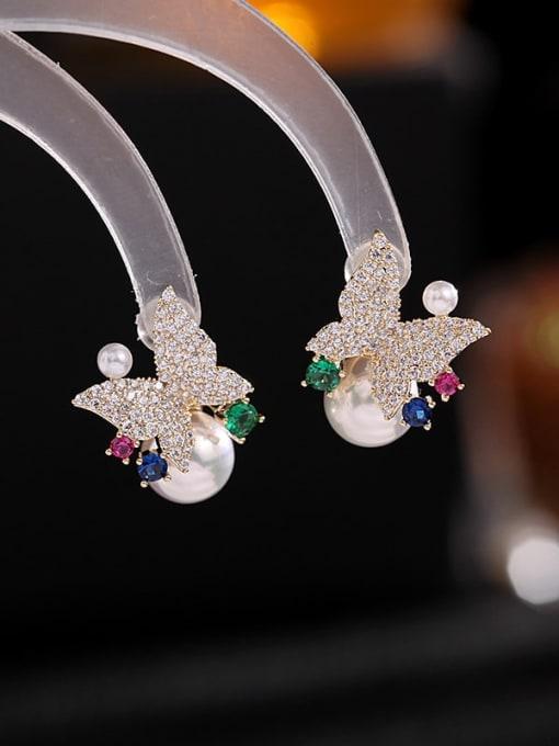 golden Brass Cubic Zirconia Butterfly Luxury Stud Earring