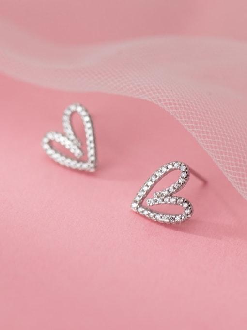 Rosh 925 Sterling Silver Rhinestone Heart Vintage Stud Earring 1
