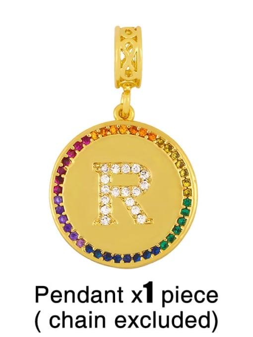 R (without chain) Copper Cubic Zirconia Rround Letter Minimalist Pendant