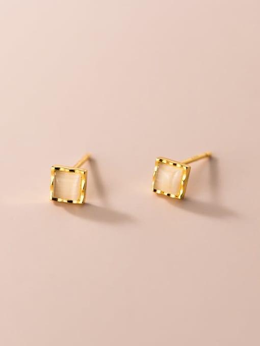 Rosh 925 Sterling Silver Cats Eye Geometric Minimalist Stud Earring 3