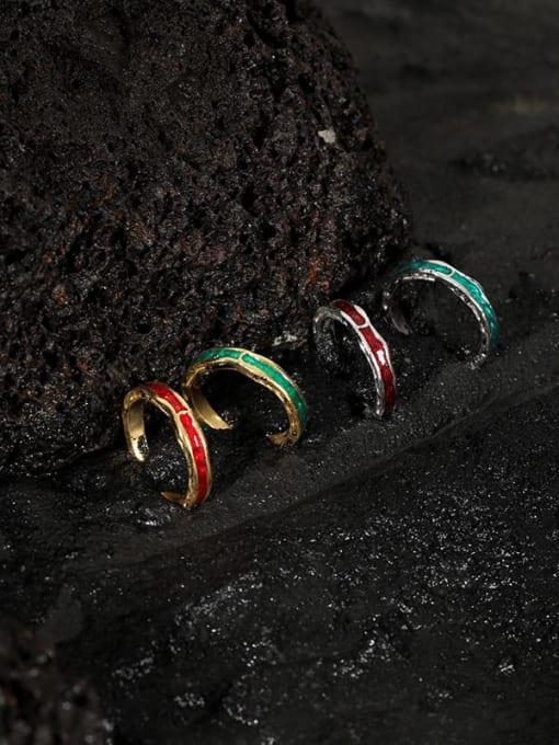 DAKA 925 Sterling Silver Enamel Irregular Vintage Band Ring 2
