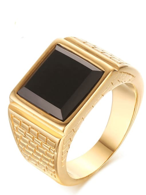 CONG Stainless steel Enamel Geometric Vintage Band Ring 0