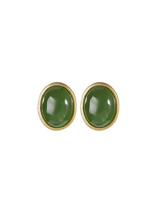 DEER 925 Sterling Silver Jade Oval Minimalist Stud Earring 0