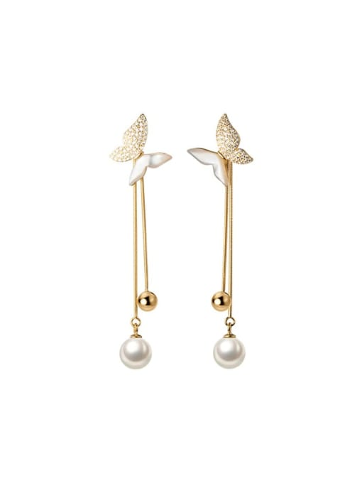 Rosh 925 Sterling Silver Shell Butterfly Dainty Threader Earring 3