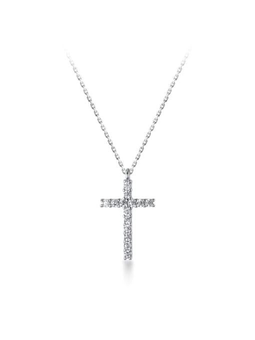 Rosh 925 Sterling Silver Rhinestone Cross Minimalist Necklace