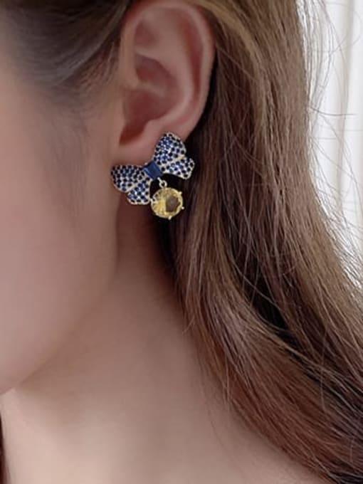 Luxu Brass Cubic Zirconia Butterfly Bohemia Stud Earring 1