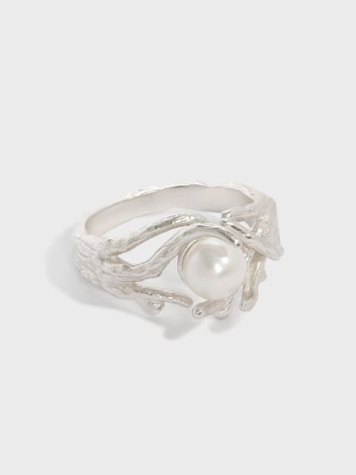 DAKA 925 Sterling Silver Imitation Pearl Irregular Vintage Band Ring 0