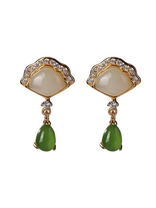 DEER 925 Sterling Silver Jade Triangle Vintage Drop Earring 0