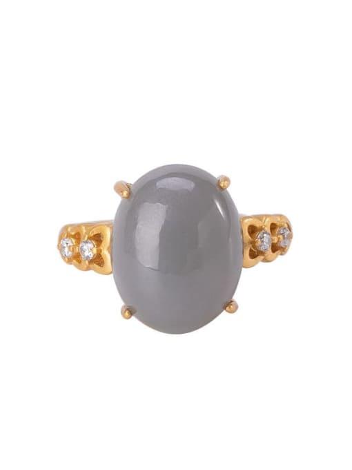 DEER 925 Sterling Silver Jade Oval Vintage Band Ring 3