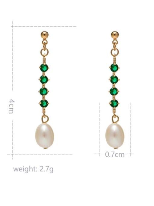 RAIN Brass Freshwater Pearl Geometric Minimalist Long Drop Earring 2