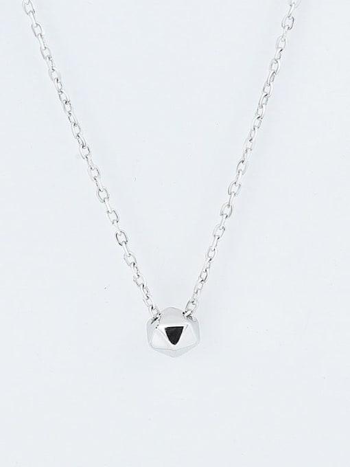 Platinum 925 Sterling Silver Smooth Geometric Minimalist  Pendant Necklace