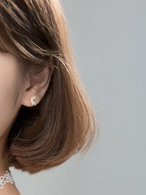 Rosh 925 Sterling Silver Cubic Zirconia Leaf Dainty Stud Earring 1