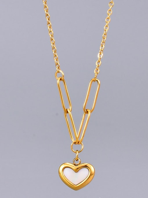 A TEEM Titanium Shell Heart Minimalist Necklace