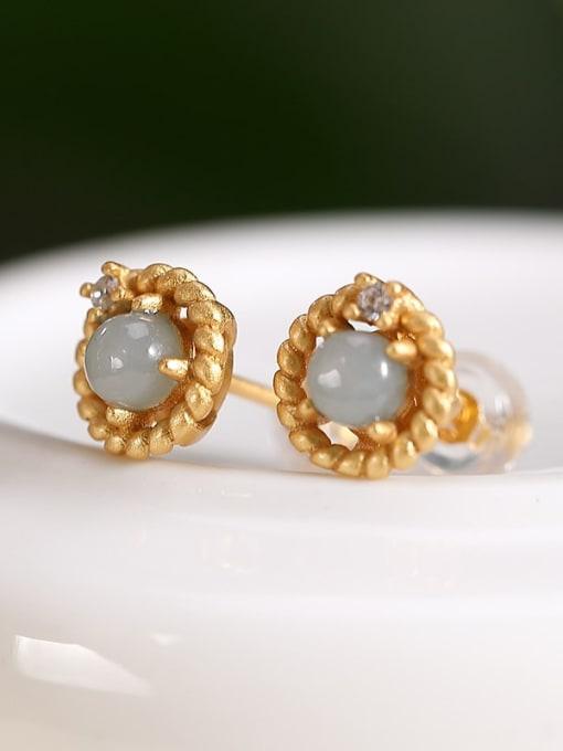 DEER 925 Sterling Silver Jade Flower Vintage Stud Earring 2