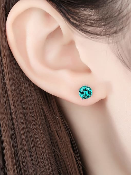 CCUI 925 Sterling Silver Cloisonne Geometric Minimalist Stud Earring 1