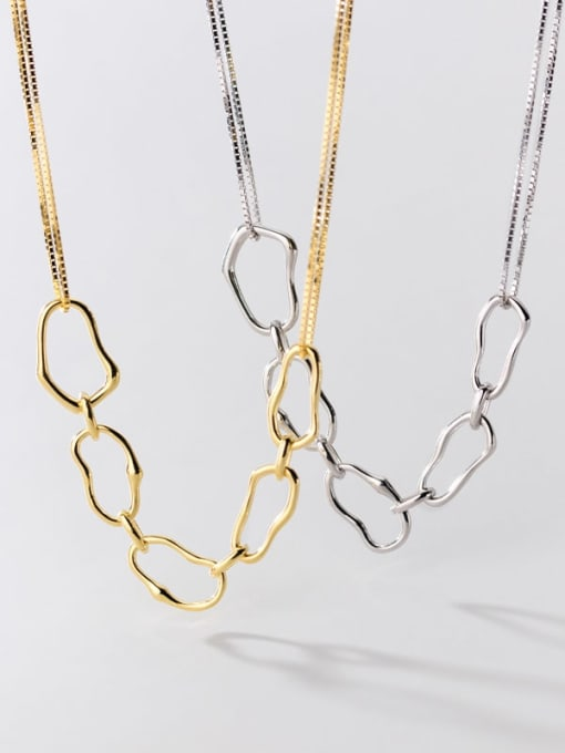 Rosh 925 Sterling Silver  Hollow Geometric Minimalist Necklace 0