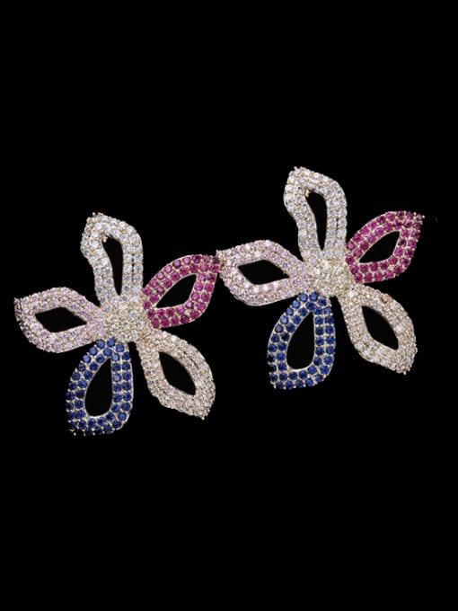 Colorful flowers Brass Cubic Zirconia Flower Luxury Stud Earring