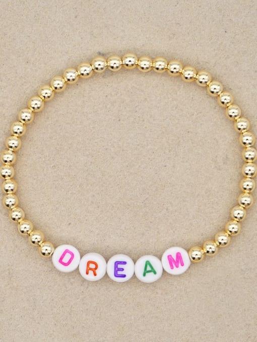QT B200132B Stainless steel Bead Acrylic Letter Bohemia Beaded Bracelet