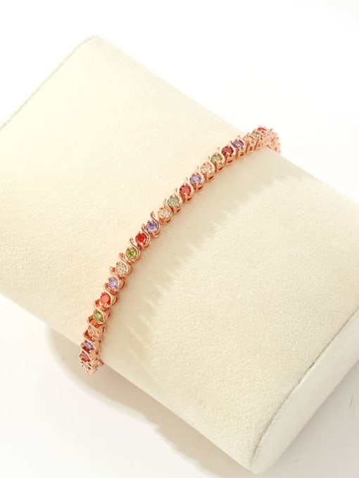 DUDU Brass Cubic Zirconia Multi Color Geometric Dainty Bracelet 2