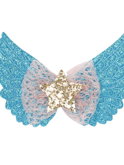 1 Blue Alloy  Silk Cute Butterfly Multi Color Hair Barrette