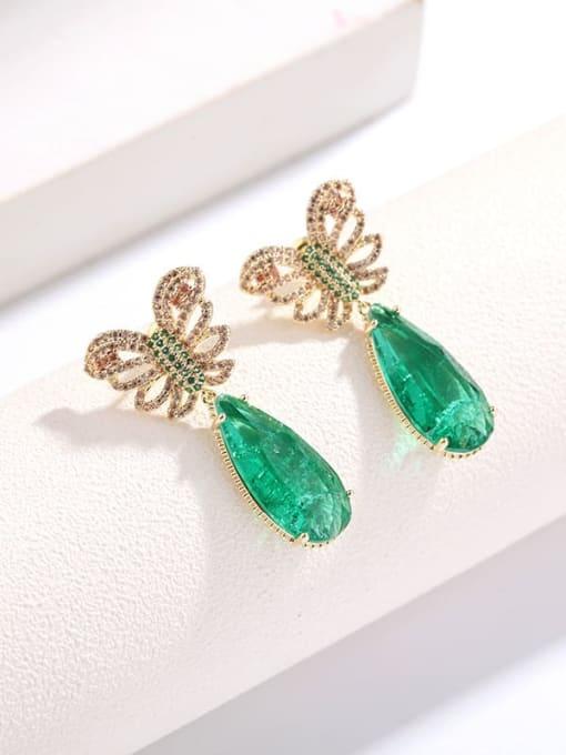 Luxu Brass Cubic Zirconia Water Drop Ethnic Drop Earring 1