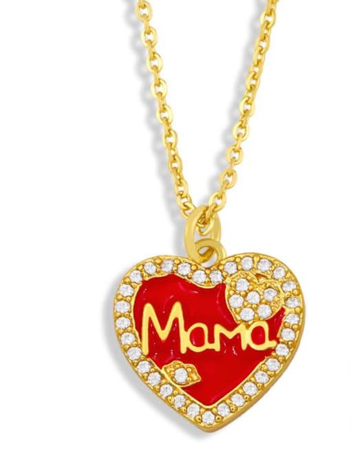 Red love Brass Enamel Heart Vintage Necklace