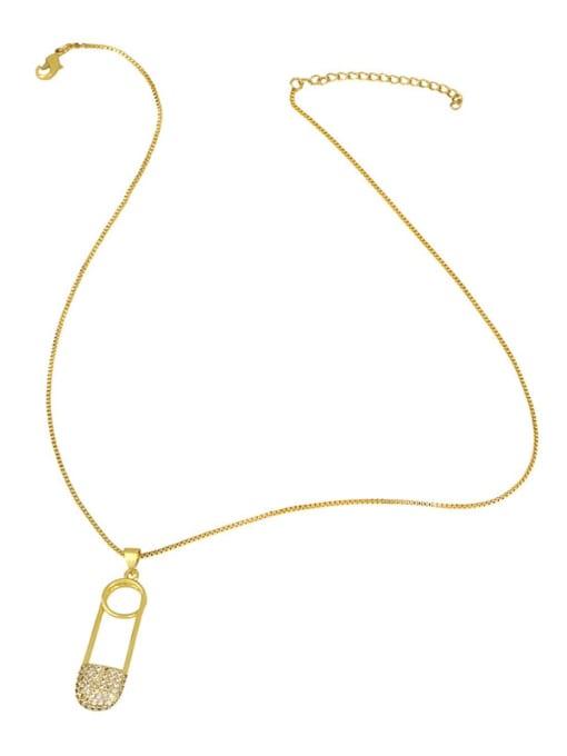 CC Brass Cubic Zirconia Geometric Minimalist Regligious Necklace 3