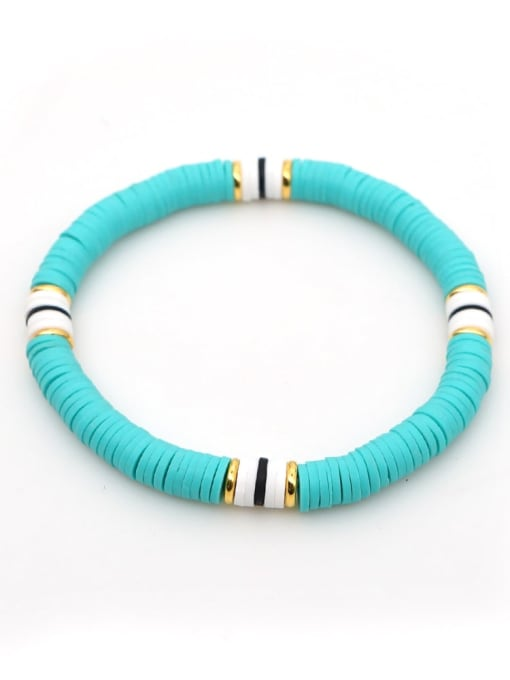 QT B200029A Stainless steel Multi Color Polymer Clay Letter Bohemia Stretch Bracelet