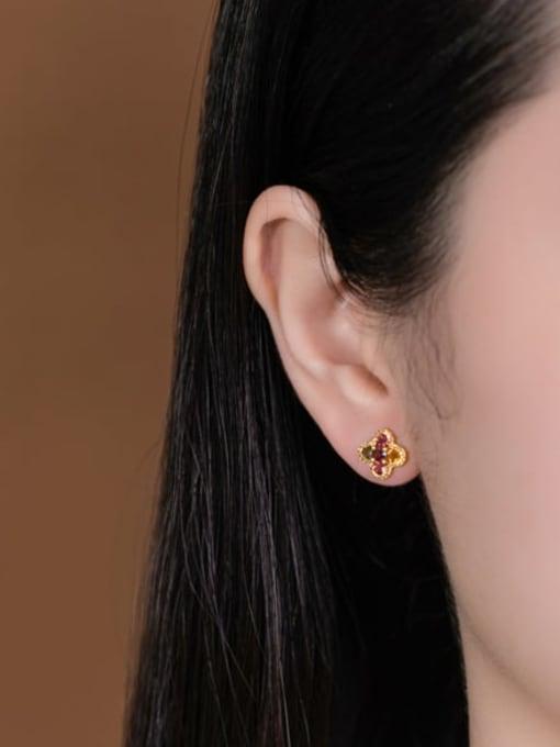 DEER 925 Sterling Silver Malchite Clover Ethnic Stud Earring 1