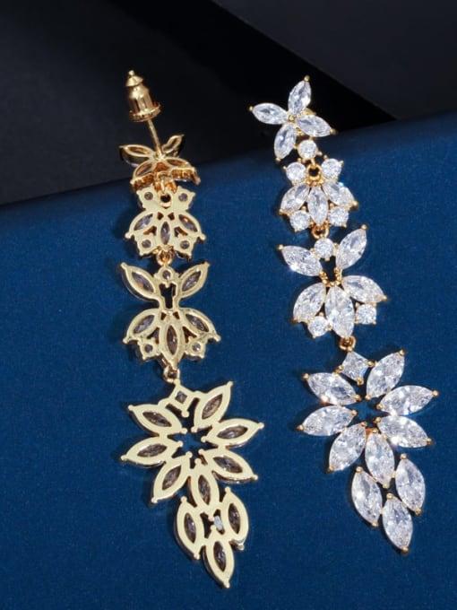 L.WIN Brass Cubic Zirconia Flower Statement Chandelier Earring 3
