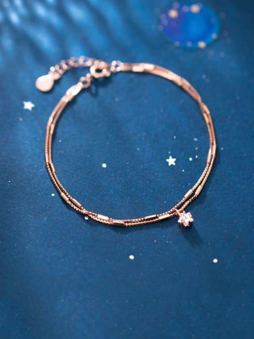 Rosh 925 Sterling Silver  Fashionable simple single diamond double chain   Bracelet