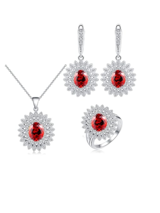 L.WIN Brass Cubic Zirconia  Dainty Geometric Earring Ring and Necklace Set 4