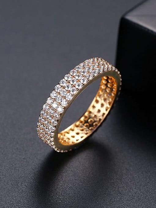 18K  T17C10 Brass Cubic Zirconia Round Minimalist Band Ring