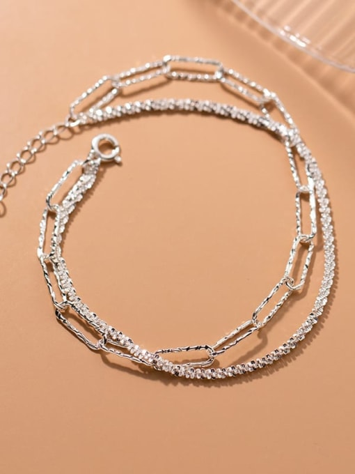 Rosh 925 Sterling Silver Geometric Minimalist Strand Bracelet 1