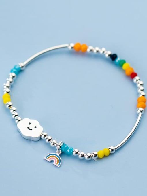 Rosh 925 Sterling Silver Bead Multi Color Cloud Minimalist Beaded Bracelet
