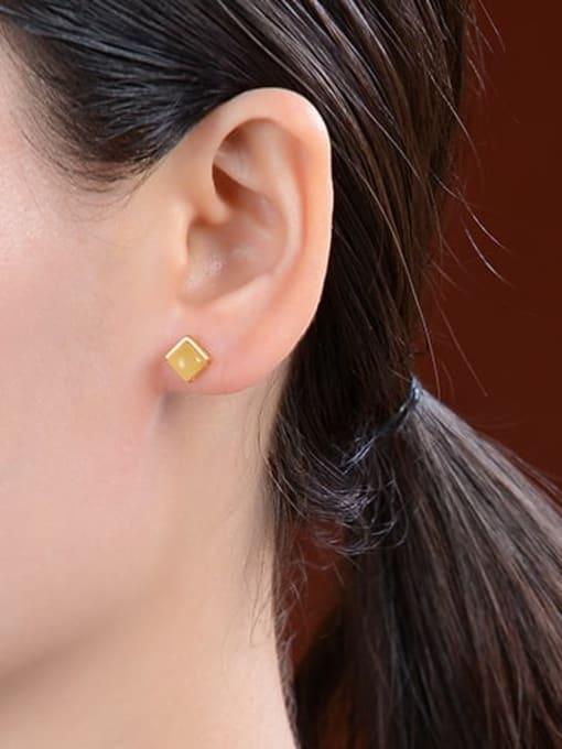 DEER 925 Sterling Silver Geometric Vintage Stud Earring 2