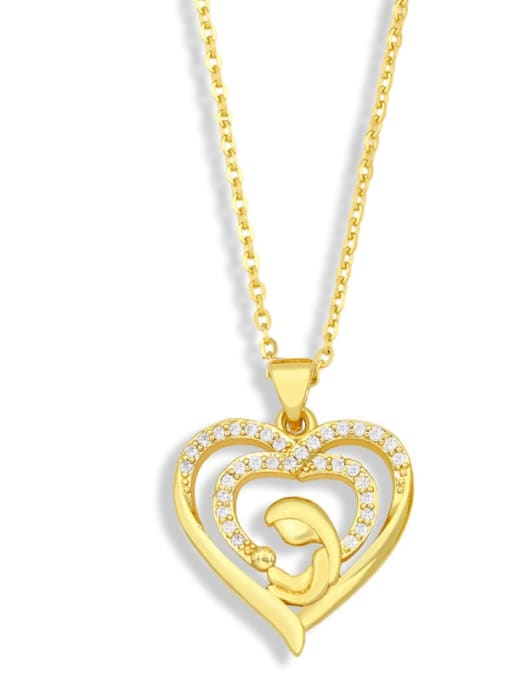 B Brass Cubic Zirconia Heart Minimalist Letter Pendant Necklace