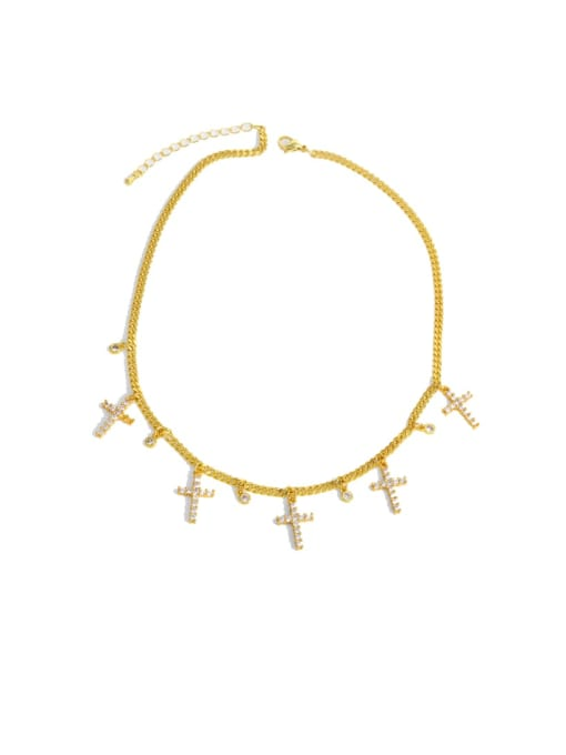CC Brass Cubic Zirconia Tassel Vintage Necklace