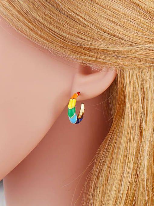 CC Brass Enamel Rainbow Hip Hop Stud Earring 3