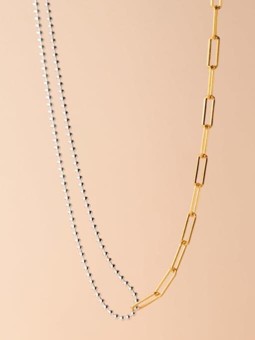 Rosh 925 Sterling Silver Asymmetry Geometric Minimalist Multi Strand Necklace 2