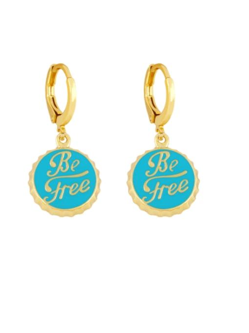 blue Brass Enamel Round Letter Vintage Huggie Earring