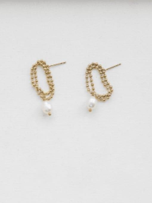 A TEEM Titanium Steel Freshwater Pearl Round Bead Minimalist Drop Earring