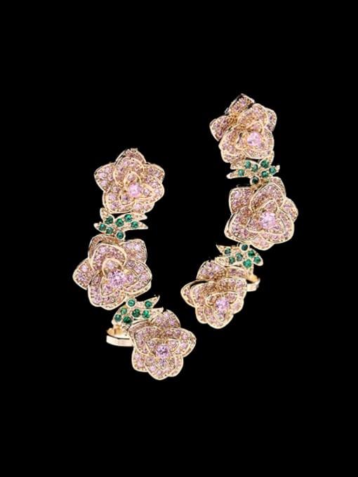 Luxu Brass Cubic Zirconia Flower Ethnic Clip Earring